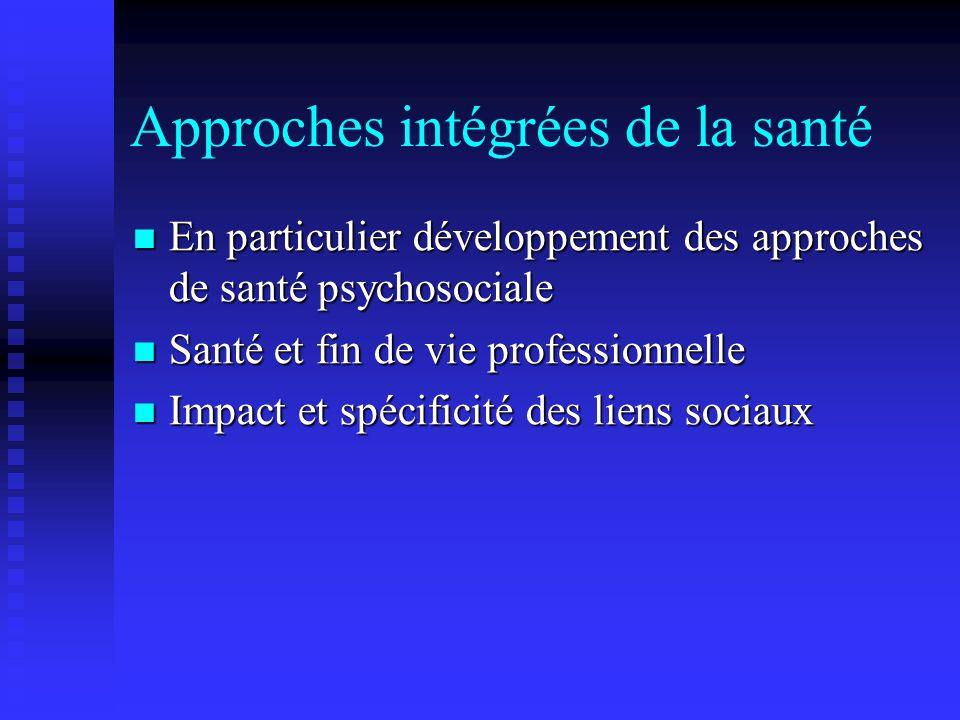 Approches intégrées de la santé En particulier développement des approches de santé psychosociale En particulier développement des approches de santé