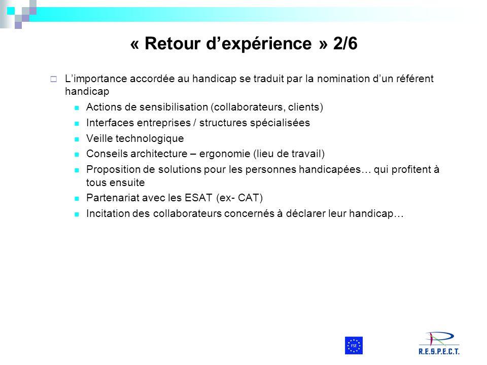 « Retour d'expérience » 2/6  L'importance accordée au handicap se traduit par la nomination d'un référent handicap Actions de sensibilisation (collab