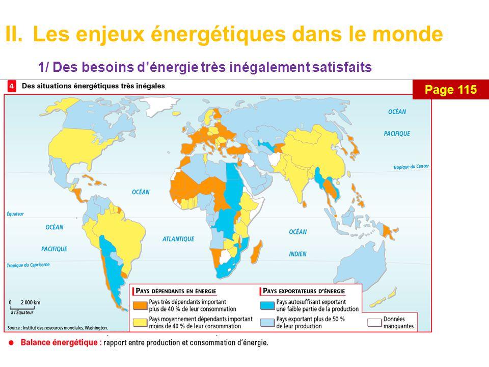 II.Les enjeux énergétiques dans le monde 1/ Des besoins d'énergie très inégalement satisfaits Page 115