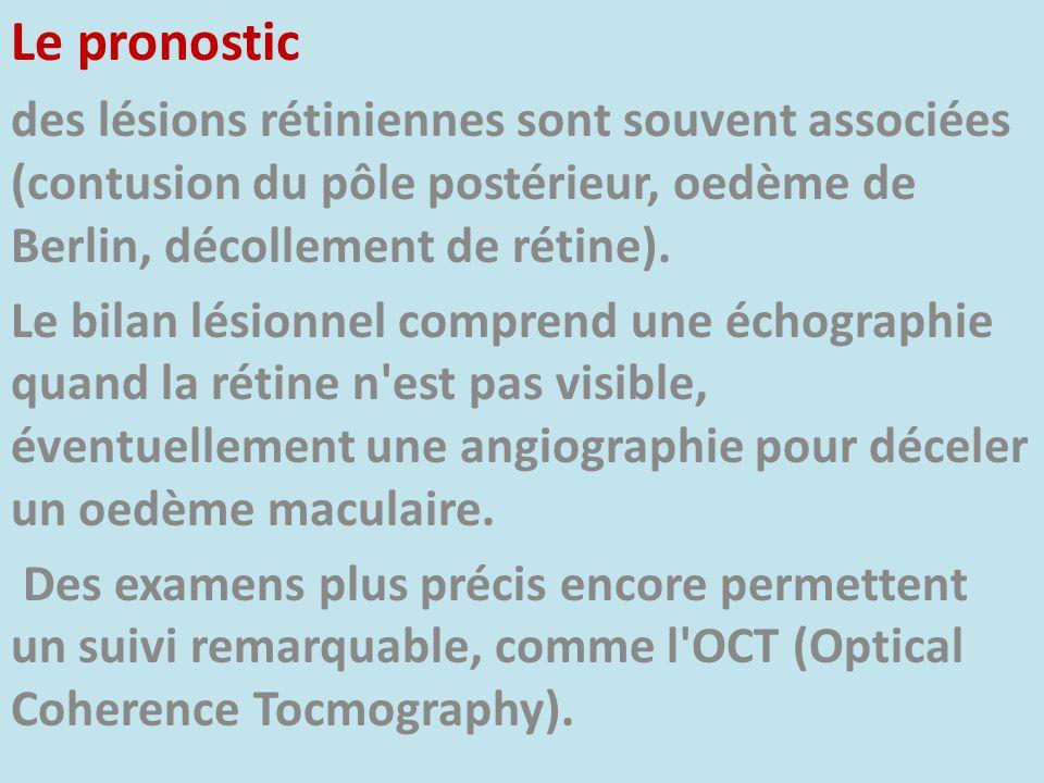 Le pronostic des lésions rétiniennes sont souvent associées (contusion du pôle postérieur, oedème de Berlin, décollement de rétine). Le bilan lésionne