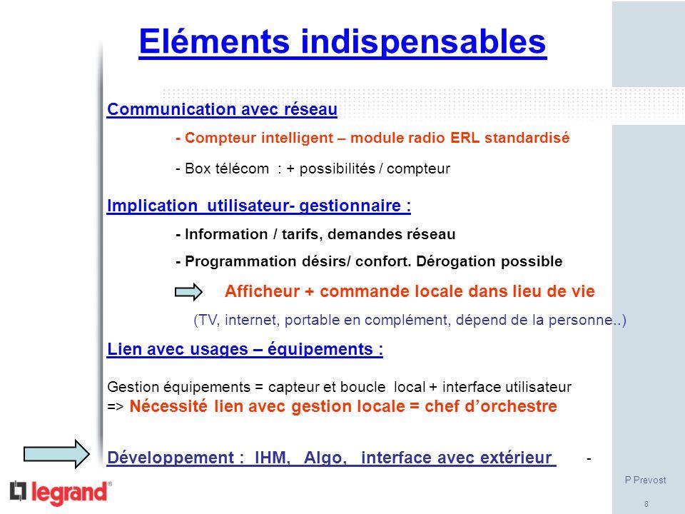 8 Eléments indispensables Communication avec réseau - Compteur intelligent – module radio ERL standardisé - Box télécom : + possibilités / compteur Im