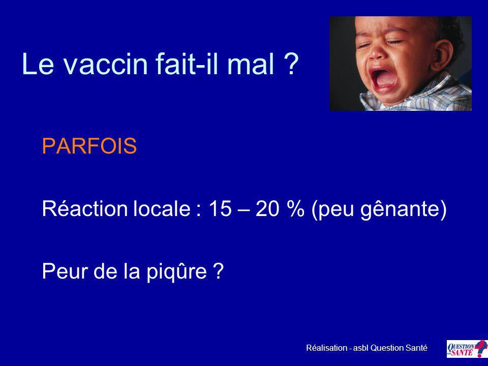 Le vaccin fait-il mal ? PARFOIS Réaction locale : 15 – 20 % (peu gênante) Peur de la piqûre ? Réalisation - asbl Question Santé