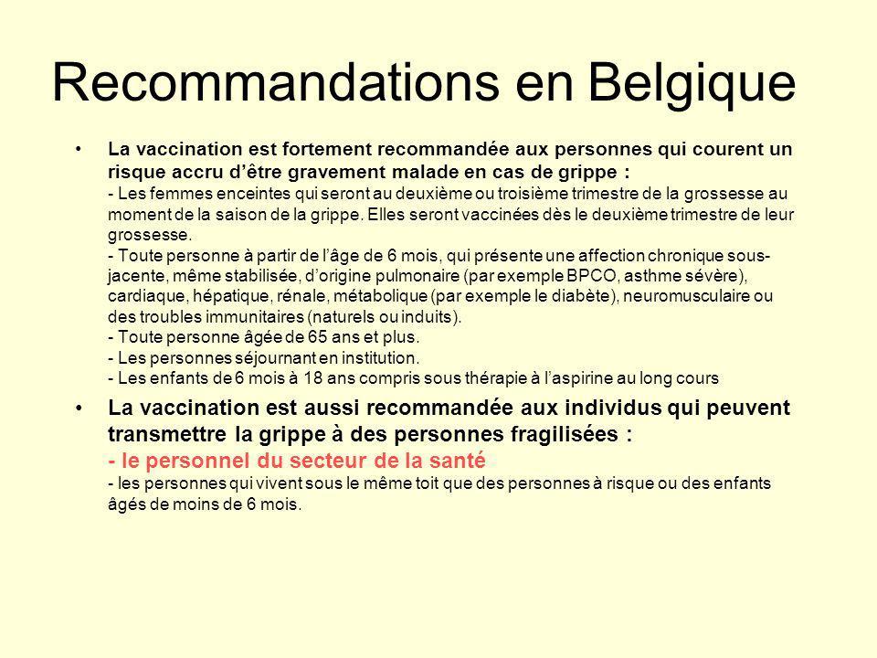 Recommandations en Belgique La vaccination est fortement recommandée aux personnes qui courent un risque accru d'être gravement malade en cas de gripp