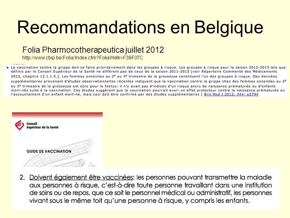 Recommandations en Belgique Folia Pharmocotherapeutica juillet 2012 http://www.cbip.be/Folia/Index.cfm FoliaWelk=F39F07C