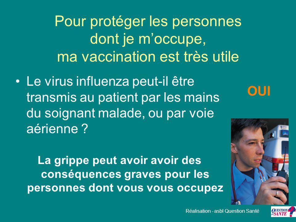 Pour protéger les personnes dont je m'occupe, ma vaccination est très utile Le virus influenza peut-il être transmis au patient par les mains du soign
