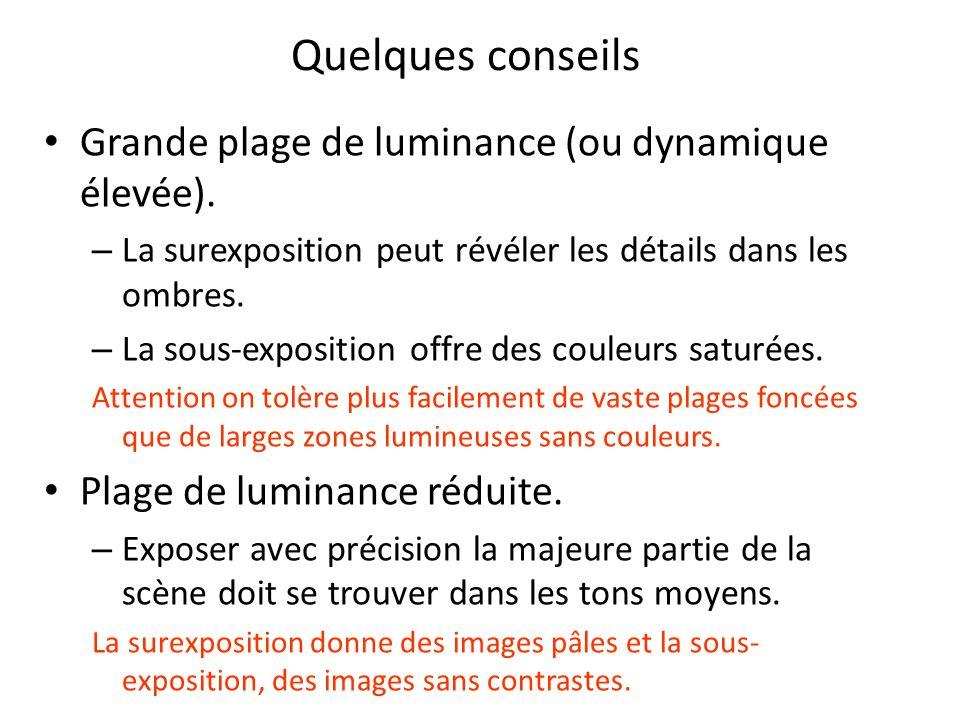Grande plage de luminance (ou dynamique élevée).