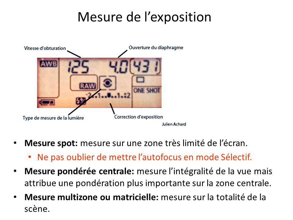 Mesure de l'exposition Mesure spot: mesure sur une zone très limité de l'écran.