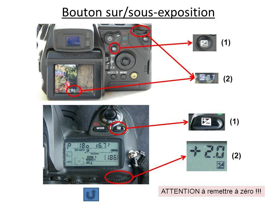 Bouton sur/sous-exposition (1) (2) ATTENTION à remettre à zéro !!!
