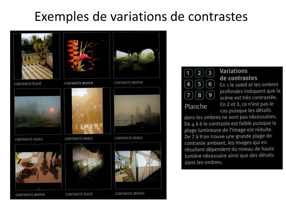 Exemples de variations de contrastes