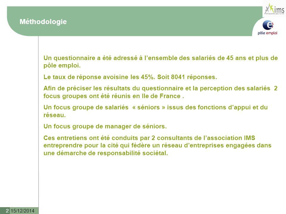 15/12/2014 2 Méthodologie Un questionnaire a été adressé à l'ensemble des salariés de 45 ans et plus de pôle emploi.