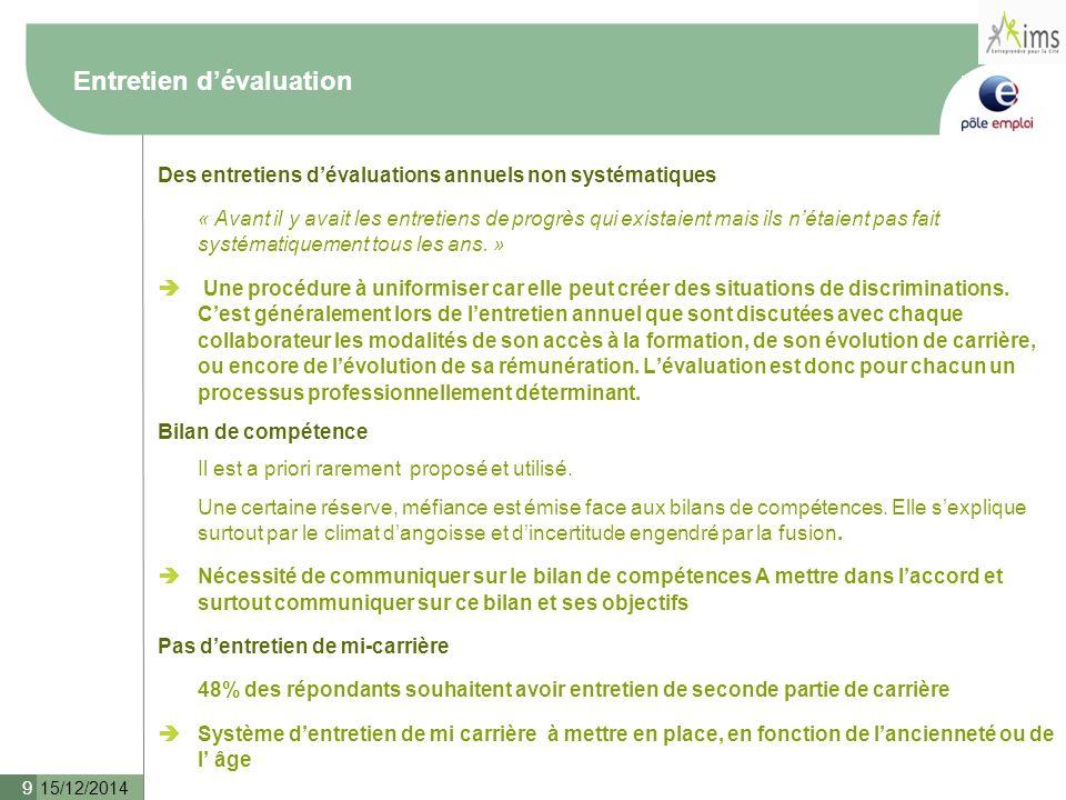 15/12/2014 10 Formations Des formations de développement et d'acquisition de nouvelles compétences mais qui ne sont exploitées et qui engendre de fortes frustrations.