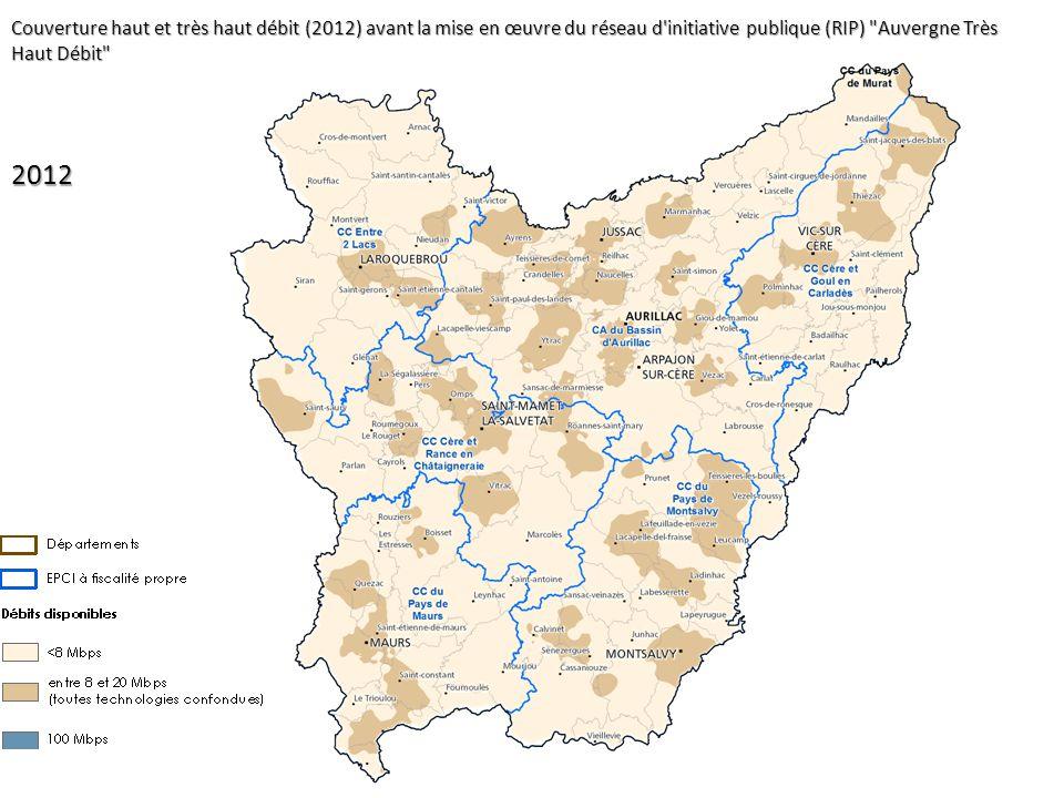 2012 Couverture haut et très haut débit (2012) avant la mise en œuvre du réseau d'initiative publique (RIP)