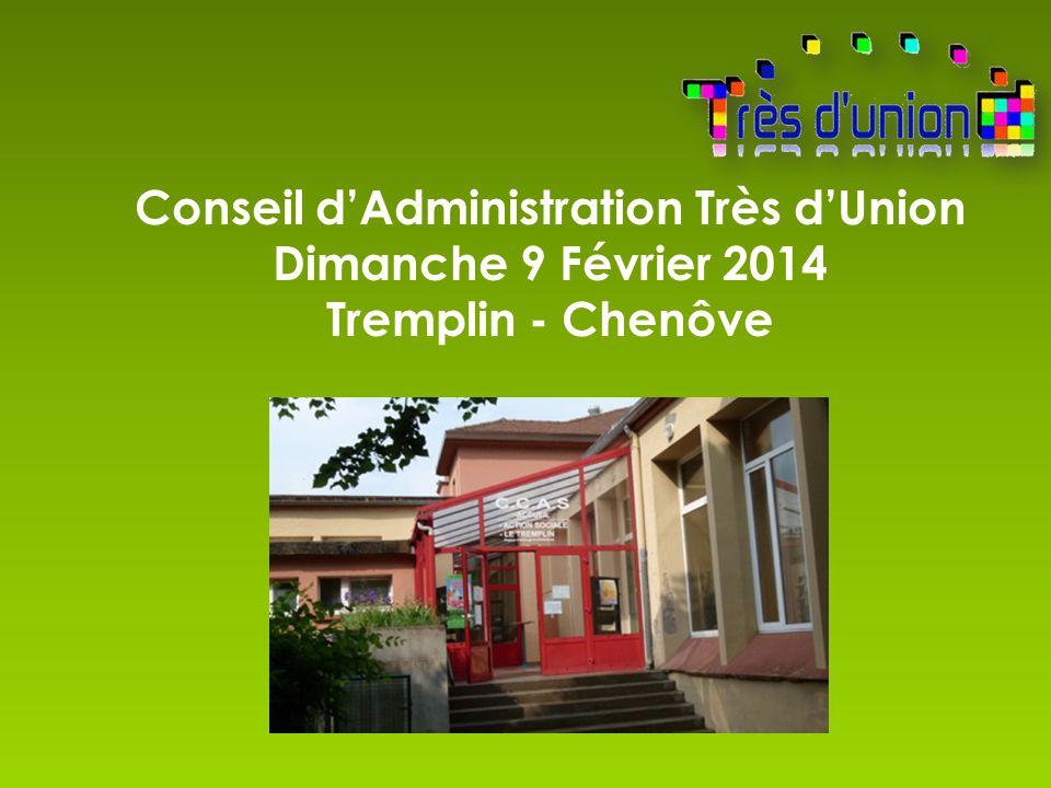 Conseil d'Administration Très d'Union Dimanche 9 Février 2014 Tremplin - Chenôve