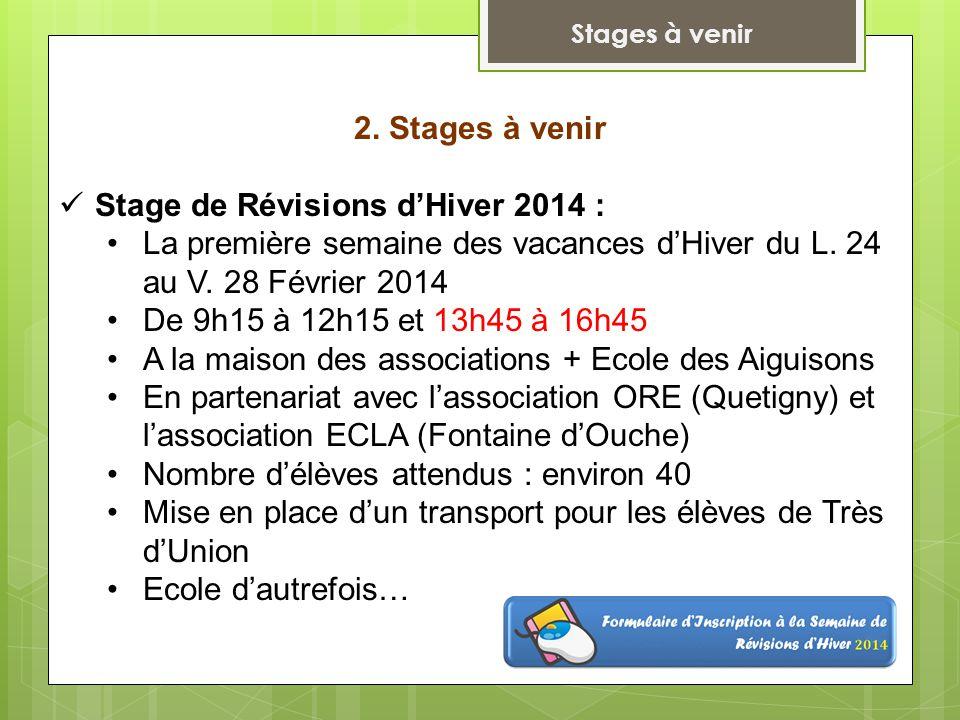 2. Stages à venir Stage de Révisions d'Hiver 2014 : La première semaine des vacances d'Hiver du L.