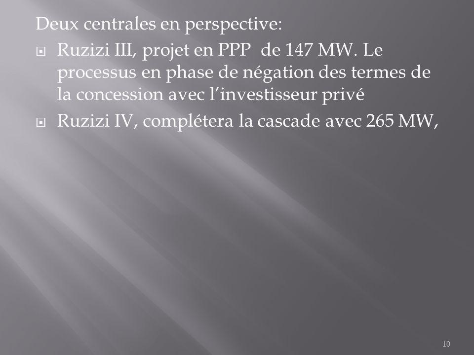 Deux centrales en perspective:  Ruzizi III, projet en PPP de 147 MW. Le processus en phase de négation des termes de la concession avec l'investisseu