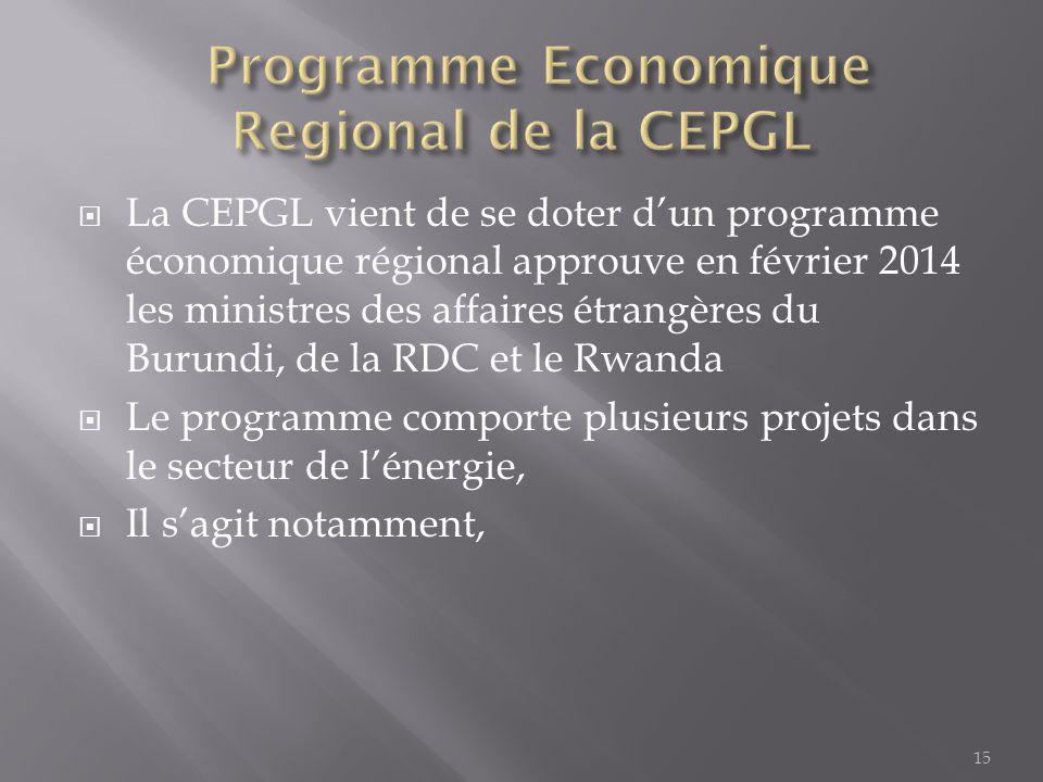  La CEPGL vient de se doter d'un programme économique régional approuve en février 2014 les ministres des affaires étrangères du Burundi, de la RDC e