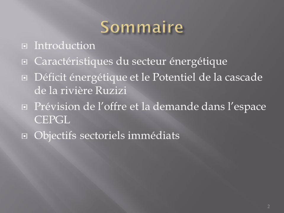  Introduction  Caractéristiques du secteur énergétique  Déficit énergétique et le Potentiel de la cascade de la rivière Ruzizi  Prévision de l'off