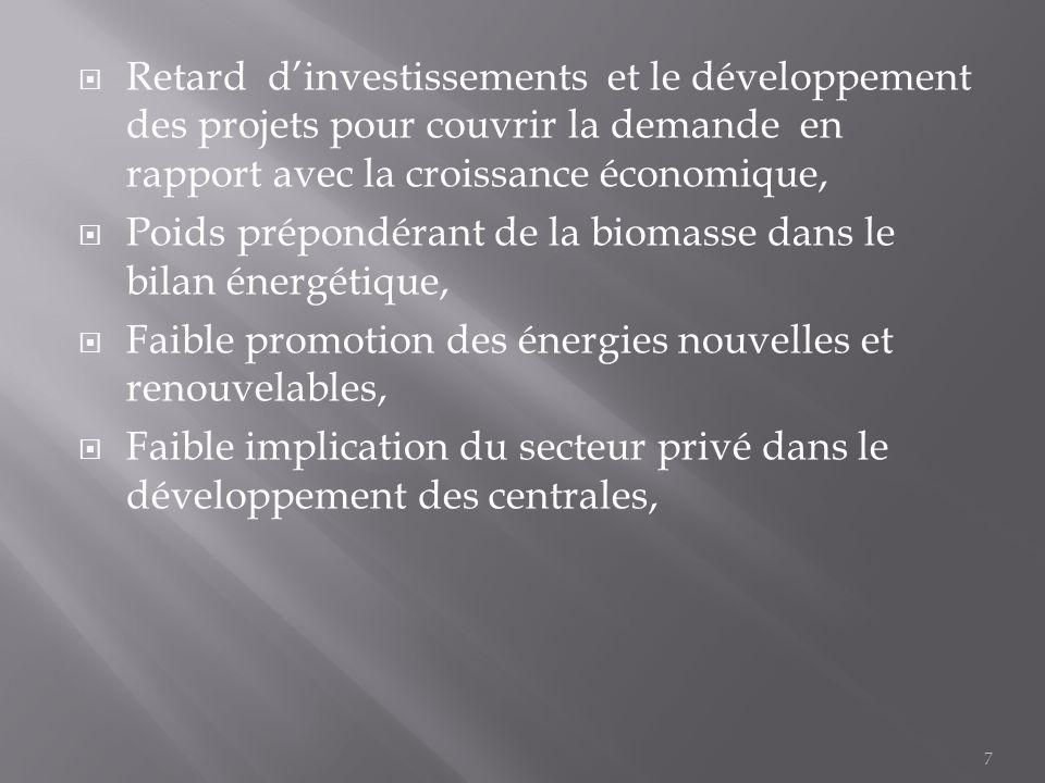  Retard d'investissements et le développement des projets pour couvrir la demande en rapport avec la croissance économique,  Poids prépondérant de l