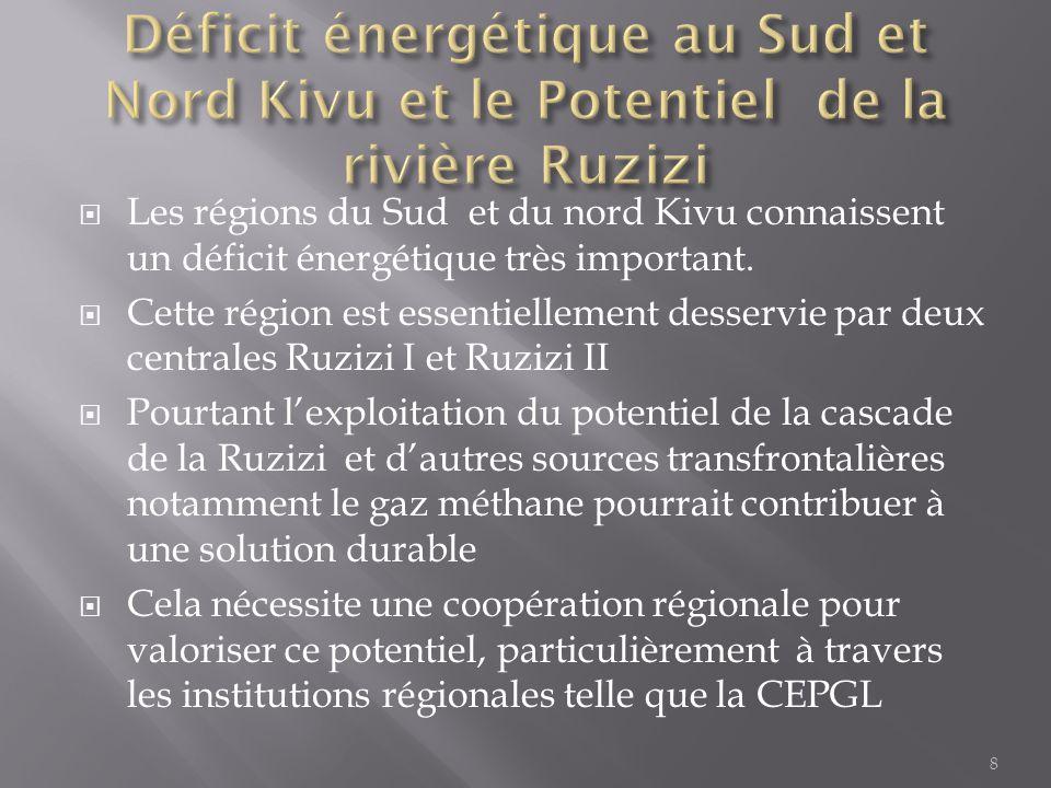  Les régions du Sud et du nord Kivu connaissent un déficit énergétique très important.  Cette région est essentiellement desservie par deux centrale