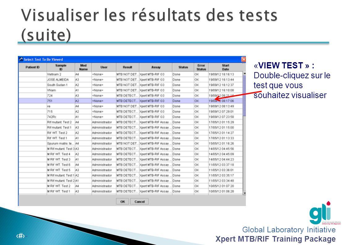 Global Laboratory Initiative Xpert MTB/RIF Training Package -‹#›-  La concentration de la MTB dans l échantillon était trop faible pour fournir des données suffisantes pour interpréter les signaux associés à la résistance  Prélever et examiner un autre échantillon