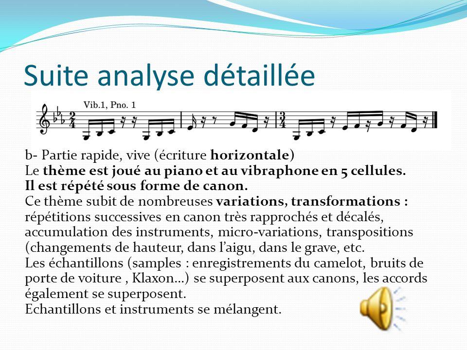Suite analyse détaillée b- Partie rapide, vive (écriture horizontale) Le thème est joué au piano et au vibraphone en 5 cellules. Il est répété sous fo
