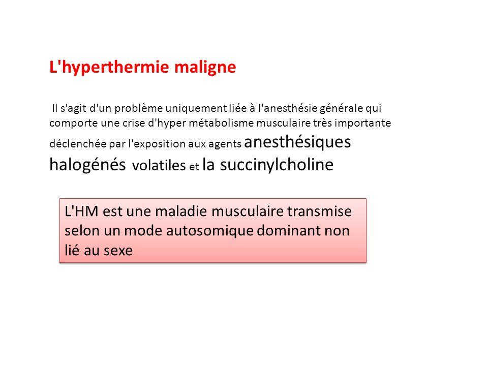 L'hyperthermie maligne Il s'agit d'un problème uniquement liée à l'anesthésie générale qui comporte une crise d'hyper métabolisme musculaire très impo