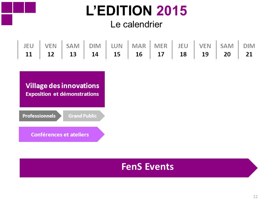 12 L'EDITION 2015 Le calendrier JEU 11 VEN 12 SAM 13 DIM 14 LUN 15 MAR 16 MER 17 JEU 18 VEN 19 SAM 20 DIM 21 Grand Public Village des innovations Expo