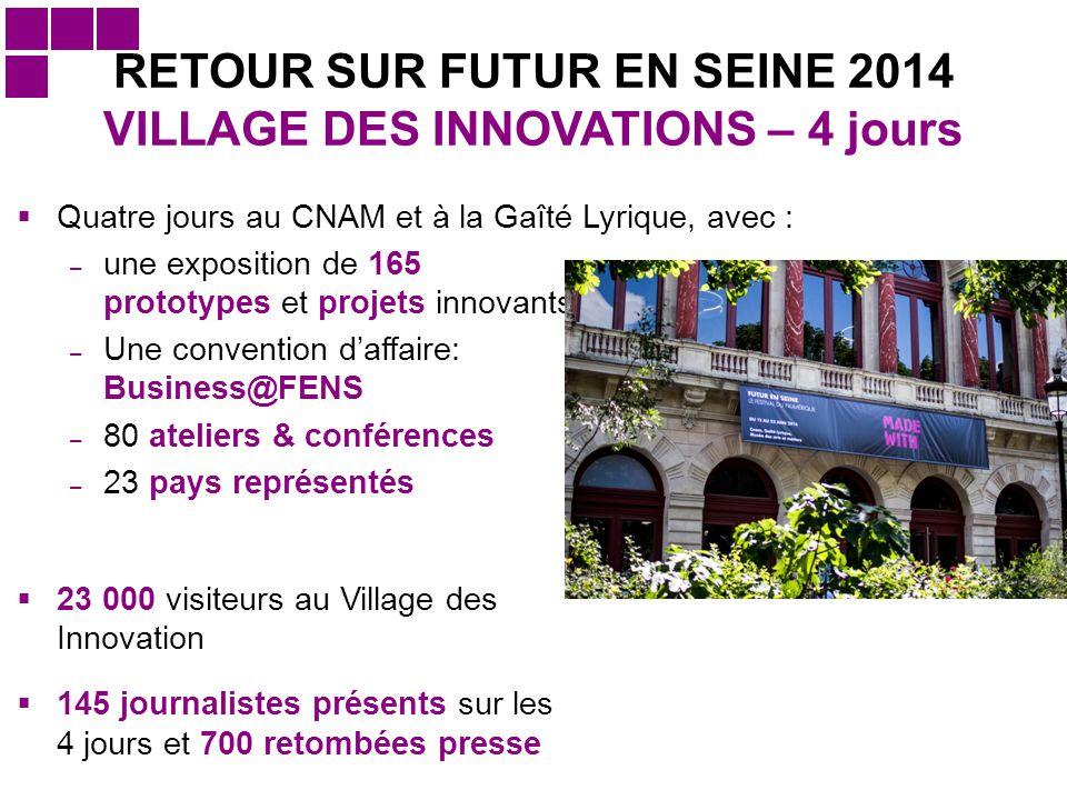  23 000 visiteurs au Village des Innovation  145 journalistes présents sur les 4 jours et 700 retombées presse RETOUR SUR FUTUR EN SEINE 2014 VILLAG
