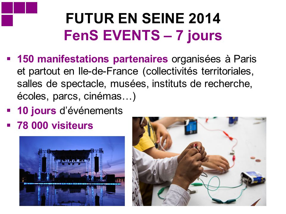 FUTUR EN SEINE 2014 FenS EVENTS – 7 jours  150 manifestations partenaires organisées à Paris et partout en Ile-de-France (collectivités territoriales