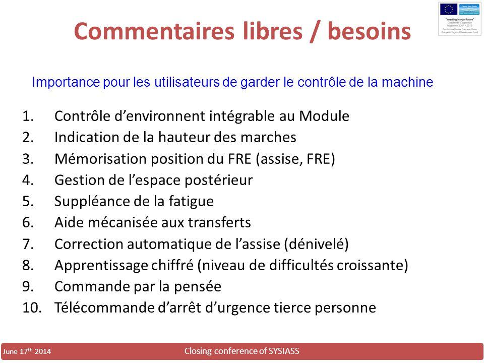 Closing conference of SYSIASS June 17 th 2014 Commentaires libres / besoins 1.Contrôle d'environnent intégrable au Module 2.Indication de la hauteur d