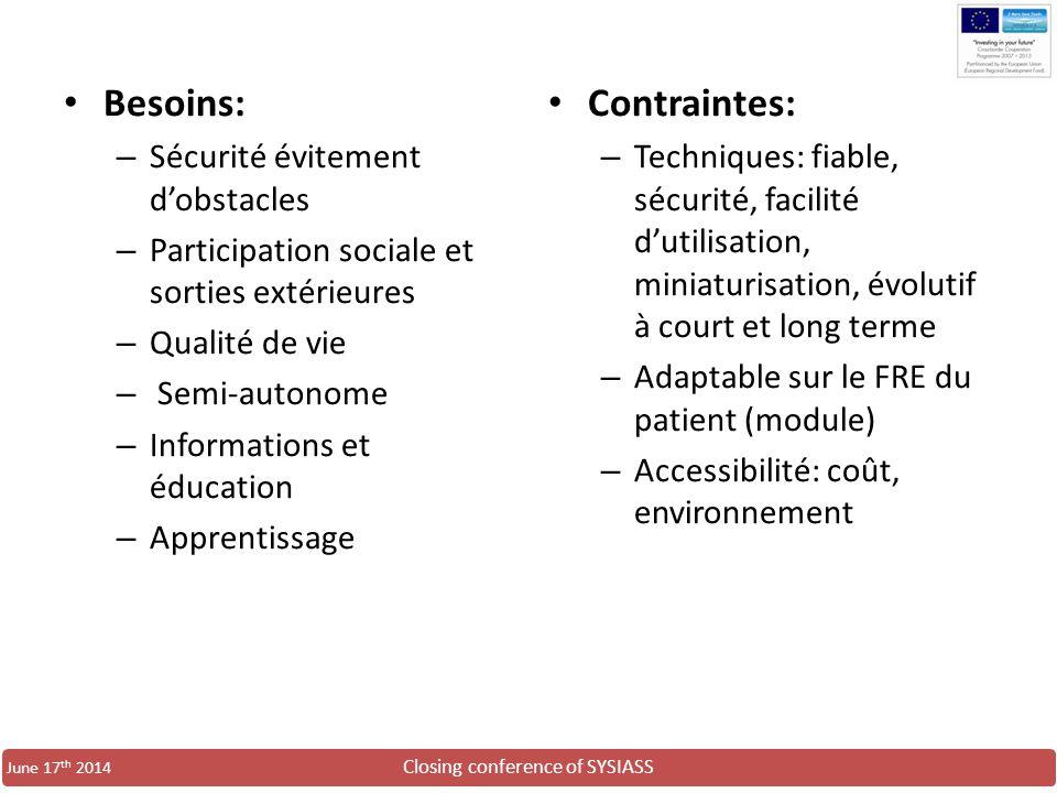 Closing conference of SYSIASS June 17 th 2014 Besoins: – Sécurité évitement d'obstacles – Participation sociale et sorties extérieures – Qualité de vi