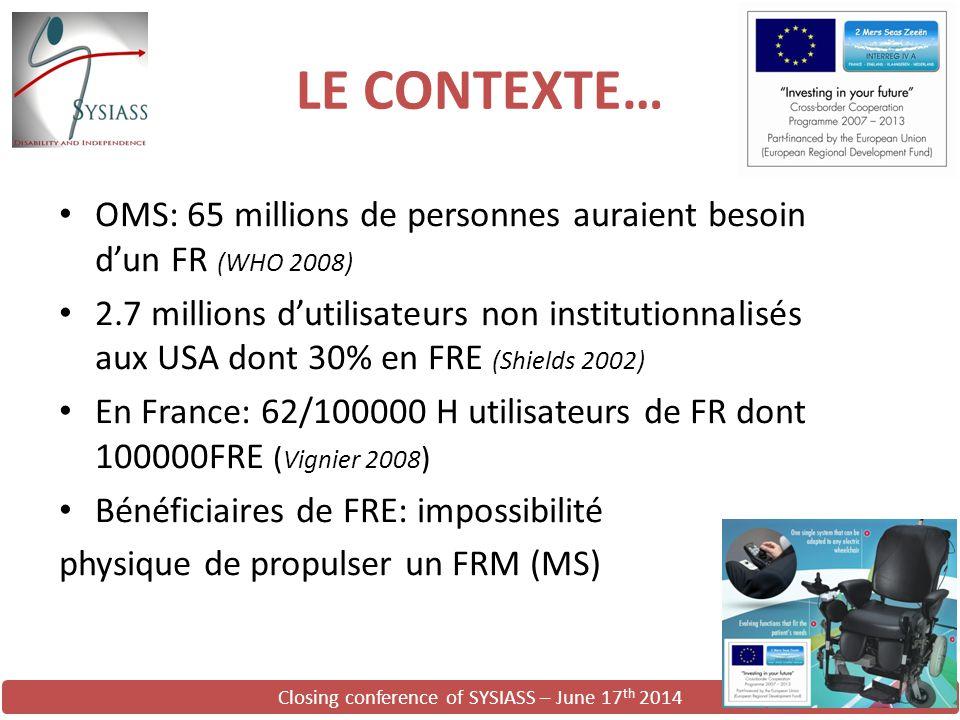 Closing conference of SYSIASS – June 17 th 2014 LE CONTEXTE… OMS: 65 millions de personnes auraient besoin d'un FR (WHO 2008) 2.7 millions d'utilisate