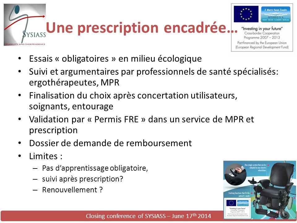 Closing conference of SYSIASS – June 17 th 2014 Une prescription encadrée… Essais « obligatoires » en milieu écologique Suivi et argumentaires par pro