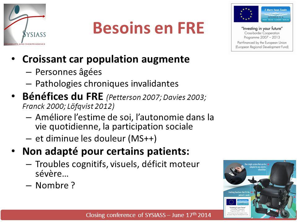 Closing conference of SYSIASS – June 17 th 2014 Besoins en FRE Croissant car population augmente – Personnes âgées – Pathologies chroniques invalidant