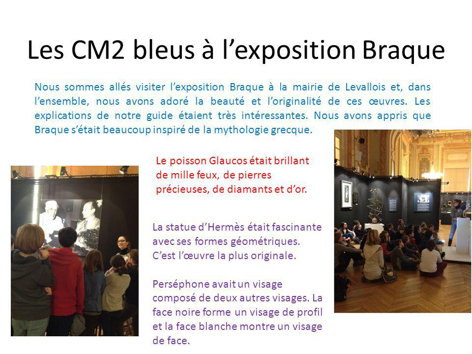 Les CM2 bleus à l'exposition Braque Nous sommes allés visiter l'exposition Braque à la mairie de Levallois et, dans l'ensemble, nous avons adoré la beauté et l'originalité de ces œuvres.