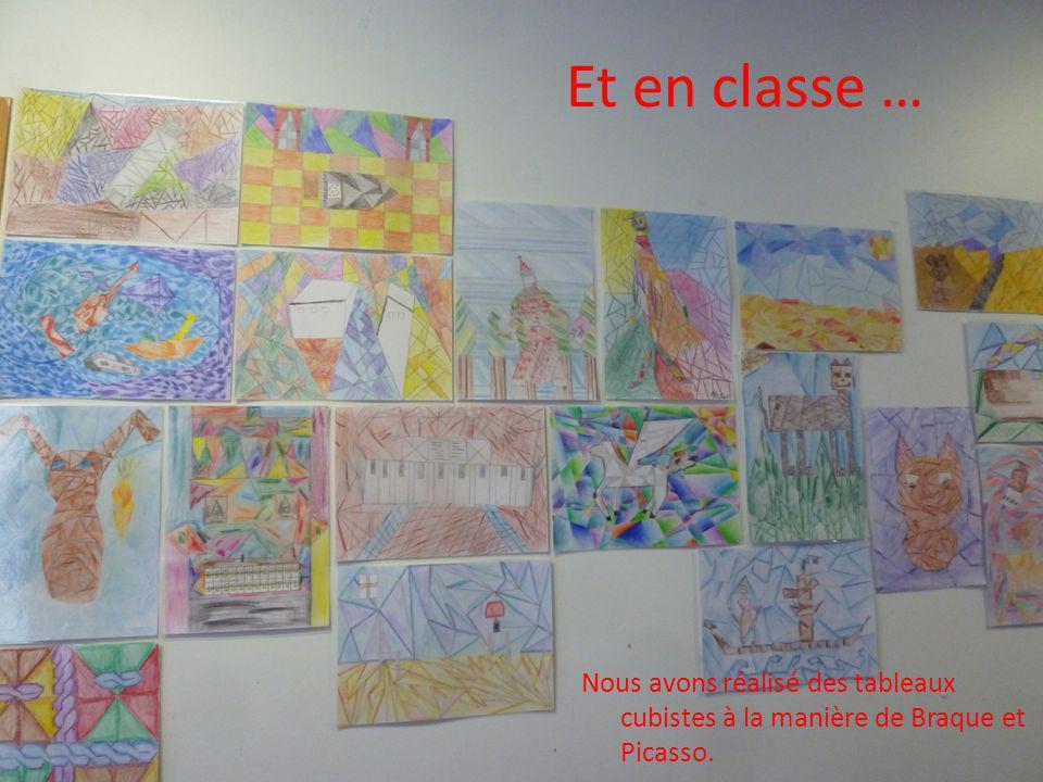 Et en classe … Nous avons réalisé des tableaux cubistes à la manière de Braque et Picasso.