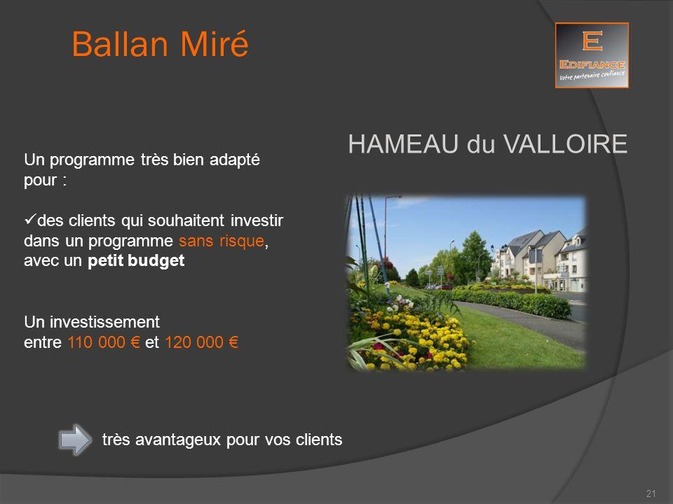 HAMEAU du VALLOIRE Ballan Miré Un programme très bien adapté pour : des clients qui souhaitent investir dans un programme sans risque, avec un petit b