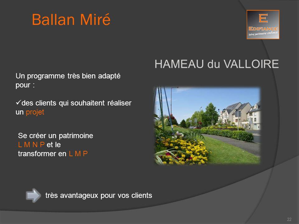 HAMEAU du VALLOIRE Ballan Miré Un programme très bien adapté pour : des clients qui souhaitent réaliser un projet Se créer un patrimoine L M N P et le