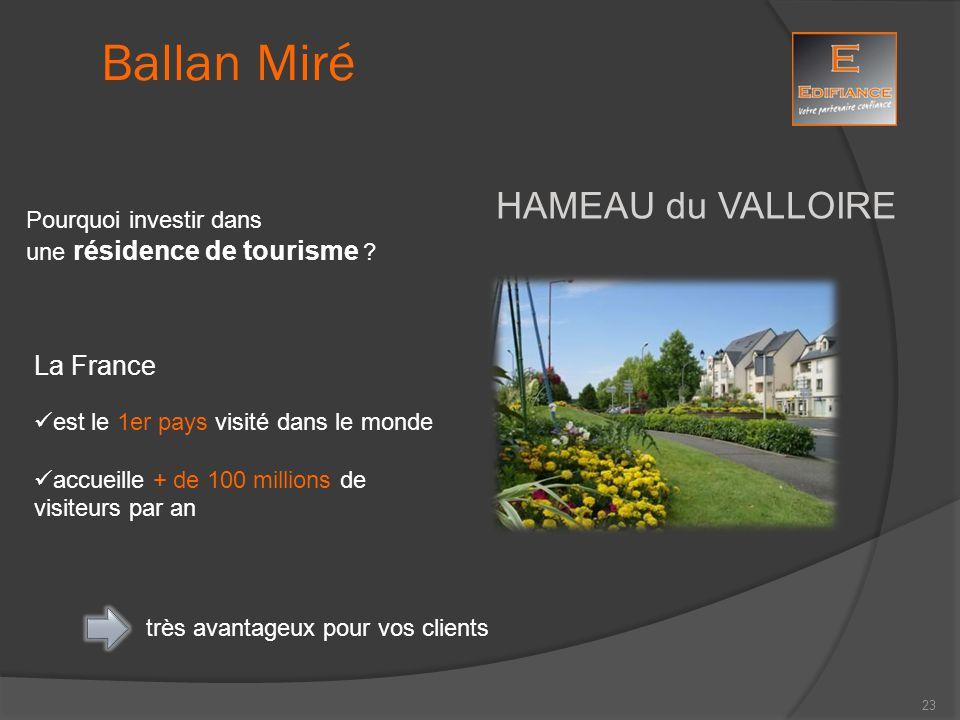 HAMEAU du VALLOIRE Pourquoi investir dans une résidence de tourisme ? Ballan Miré La France est le 1er pays visité dans le monde accueille + de 100 mi