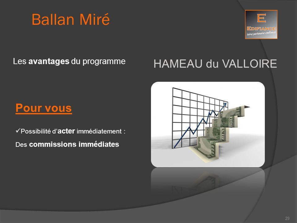 HAMEAU du VALLOIRE Ballan Miré Les avantages du programme Pour vous Possibilité d' acter immédiatement : Des commissions immédiates 29