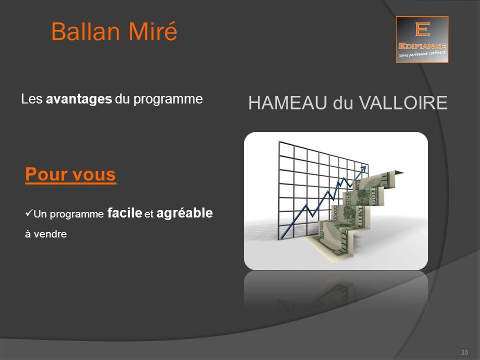 HAMEAU du VALLOIRE Ballan Miré Les avantages du programme Pour vous Un programme facile et agréable à vendre 30