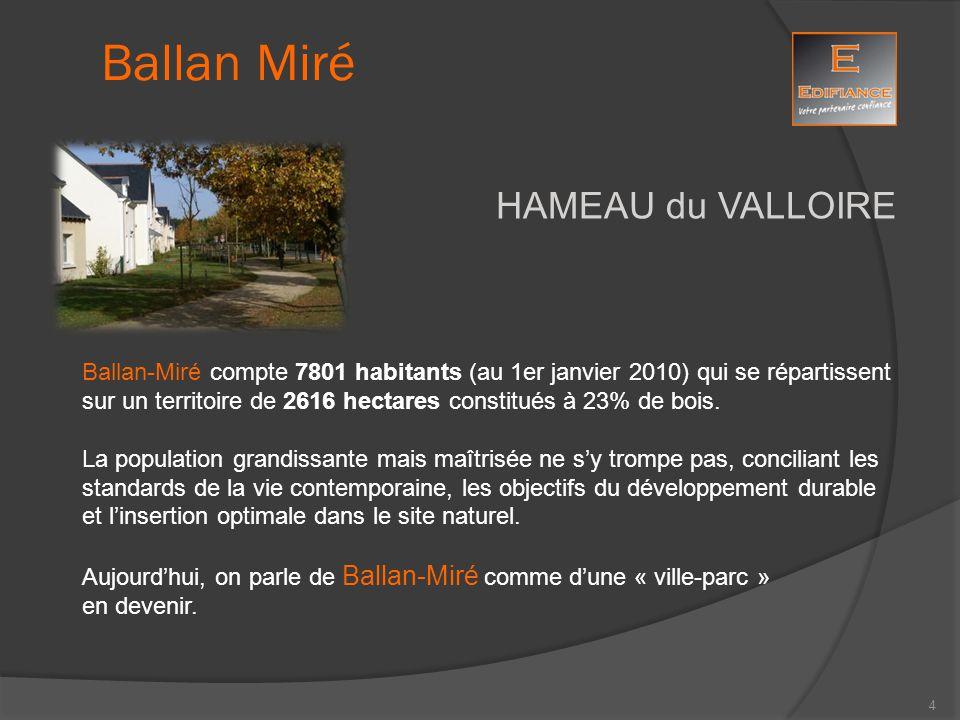 HAMEAU du VALLOIRE Ballan-Miré compte 7801 habitants (au 1er janvier 2010) qui se répartissent sur un territoire de 2616 hectares constitués à 23% de
