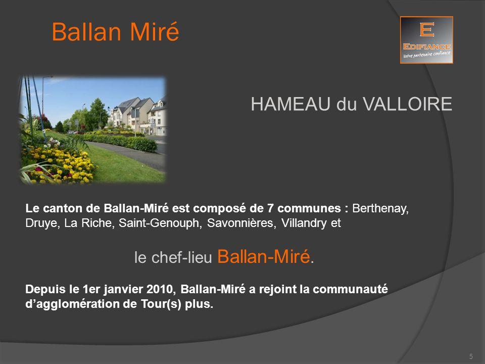 HAMEAU du VALLOIRE Le canton de Ballan-Miré est composé de 7 communes : Berthenay, Druye, La Riche, Saint-Genouph, Savonnières, Villandry et le chef-l