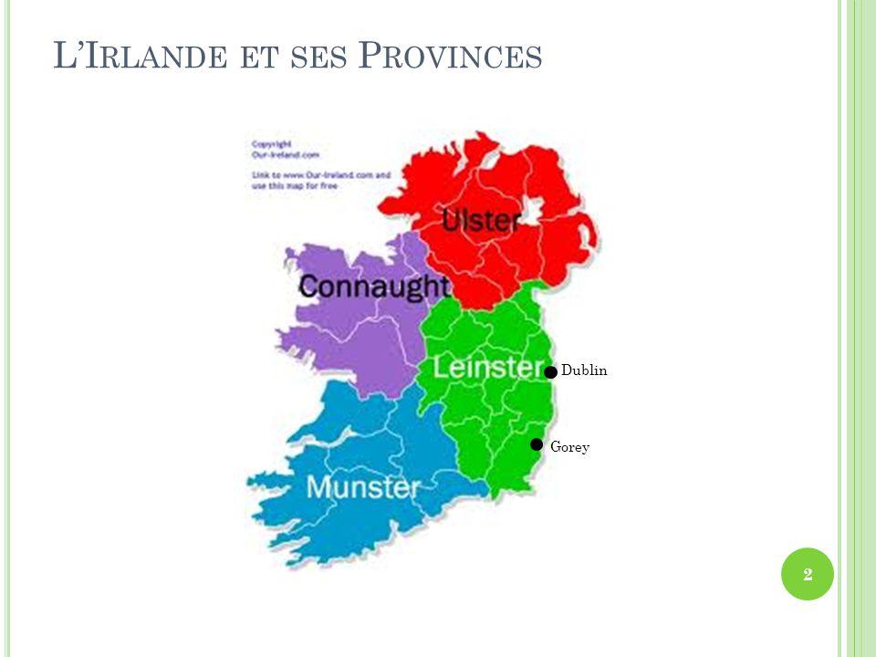 V ILLE DE G OREY – G UAIRE ( EN IRLANDAIS ) Gorey est situé à environ une heure de route de Dublin, au sud, le long de la côte est.