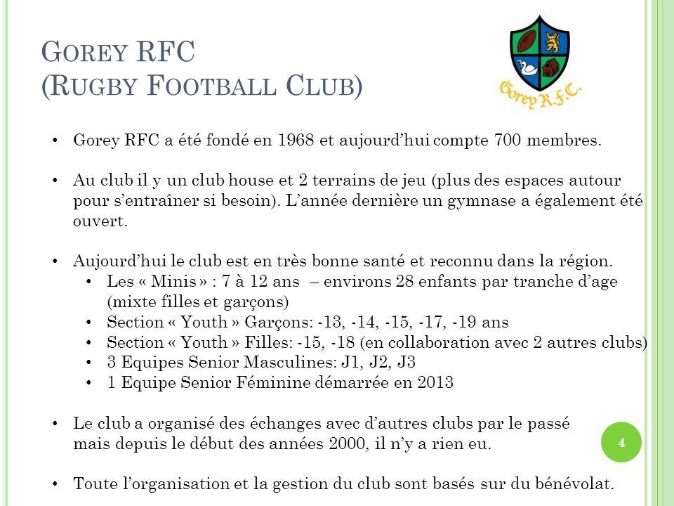G OREY RFC (R UGBY F OOTBALL C LUB ) Gorey RFC a été fondé en 1968 et aujourd'hui compte 700 membres.