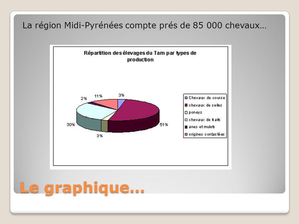 Le graphique… La région Midi-Pyrénées compte prés de 85 000 chevaux…