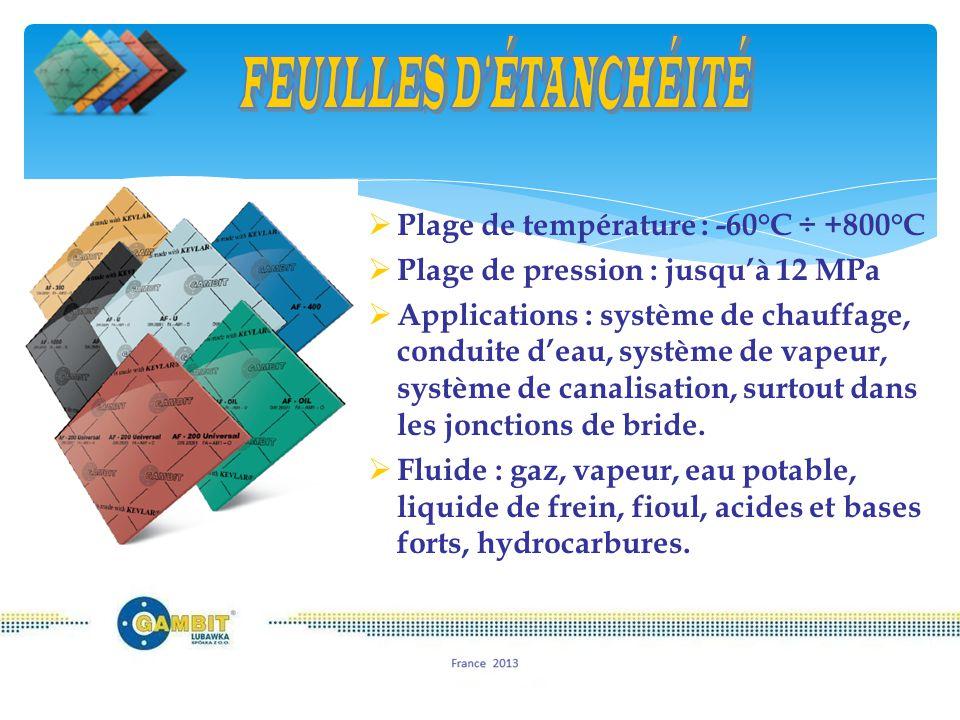  65% de la production  100% des produits sans amiante  constituées de meilleurs fibres : d'aramide (Kevlar), inorganiques, liants et élastomères  gamme étendue de températures et pressions  processus de calandrage  résistant à la majorité des fluides