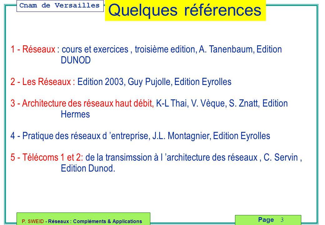 Cnam de Versailles P. SWEID - Réseaux : Compléments & Applications 3 Page 1 - Réseaux : cours et exercices, troisième edition, A. Tanenbaum, Edition D