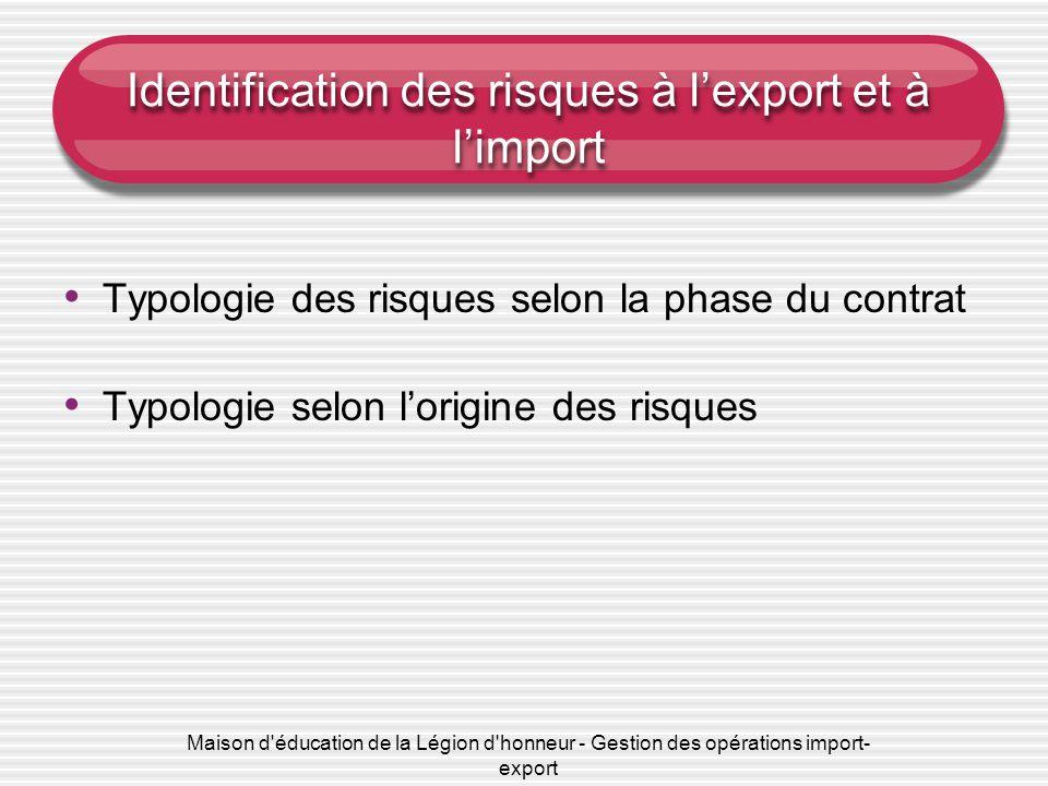 Maison d éducation de la Légion d honneur - Gestion des opérations import- export Identification des risques à l'export et à l'import Typologie des risques selon la phase du contrat Typologie selon l'origine des risques