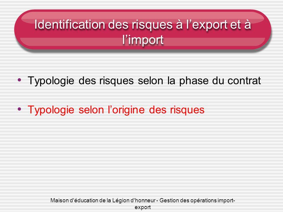 Maison d'éducation de la Légion d'honneur - Gestion des opérations import- export Identification des risques à l'export et à l'import Typologie des ri